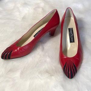 EVAN-PICONE Vintage Red & Black Leather Heels